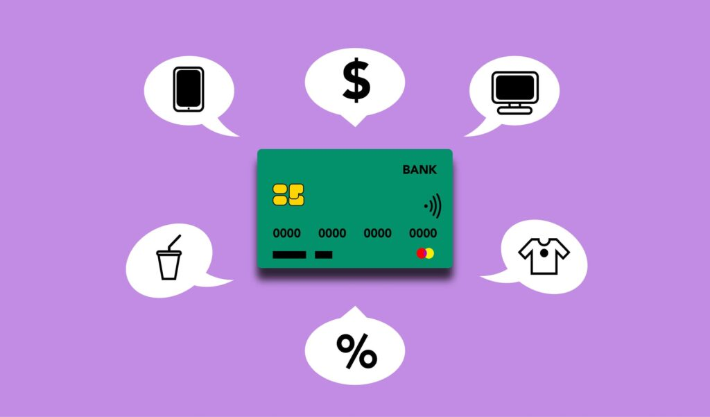 illustration showing credit card functions for different payments